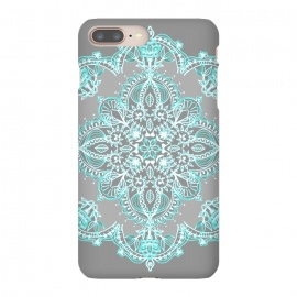 Teal and Aqua Lace Mandala on Grey  by Micklyn Le Feuvre