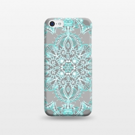 iPhone 5C  Teal and Aqua Lace Mandala on Grey  by Micklyn Le Feuvre