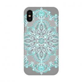 iPhone X  Teal and Aqua Lace Mandala on Grey  by  (boho,bohemian,aqua,turquoise,blue,grey,white,mandala,medallion,lace,lacy,doodle,micklyn,symmetrical,symmetry,detailed)
