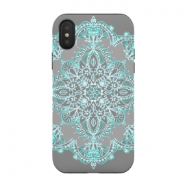 Teal and Aqua Lace Mandala on Grey  by Micklyn Le Feuvre (boho,bohemian,aqua,turquoise,blue,grey,white,mandala,medallion,lace,lacy,doodle,micklyn,symmetrical,symmetry,detailed)