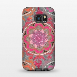 Galaxy S7  Hot Pink, Magenta and Orange Super Boho Medallions by Micklyn Le Feuvre (boho,bohemian,painted,circle,micklyn,hot pink,magenta,orange,bright,colorful,medallion,mandala,patterns,doodle,floral,flower,circles)