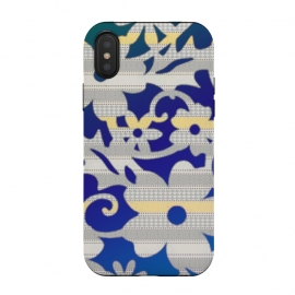 Patterned floral by Kashmira Baheti (floral,patterned,blue,yellow,gray,bold)