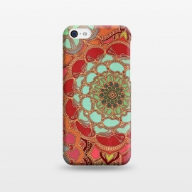 iPhone 5C  Baroque Obsession by Micklyn Le Feuvre (mandala,medallion,boho,bohemian,baroque,maroon,wine red,doodle,micklyn,circles,flower,floral,jade,green,magenta,decorative)