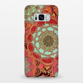 Galaxy S8+  Baroque Obsession by Micklyn Le Feuvre (mandala,medallion,boho,bohemian,baroque,maroon,wine red,doodle,micklyn,circles,flower,floral,jade,green,magenta,decorative)