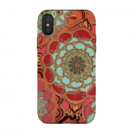 iPhone Xs / X  Baroque Obsession by Micklyn Le Feuvre (mandala,medallion,boho,bohemian,baroque,maroon,wine red,doodle,micklyn,circles,flower,floral,jade,green,magenta,decorative)