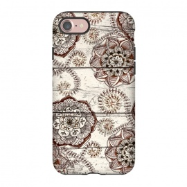 iPhone 8/7  Coffee & Cocoa - brown & cream floral doodles on wood by Micklyn Le Feuvre