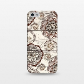 iPhone 5/5E/5s  Coffee & Cocoa - brown & cream floral doodles on wood by Micklyn Le Feuvre