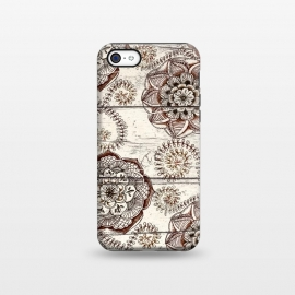 iPhone 5C  Coffee & Cocoa - brown & cream floral doodles on wood by Micklyn Le Feuvre