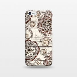 iPhone 5C  Coffee & Cocoa - brown & cream floral doodles on wood by Micklyn Le Feuvre (mandala,medallion,boho,bohemain,wood,shabby chic,texture,painted,paint,doodle,micklyn,drawing,flower,floral,nature,ferns,coffee,cocoa,brown,cream)