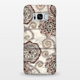 Galaxy S8+  Coffee & Cocoa - brown & cream floral doodles on wood by Micklyn Le Feuvre