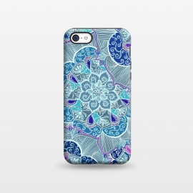 iPhone 5C  Fresh Doodle in Teal Blue, Purple and Grey by Micklyn Le Feuvre