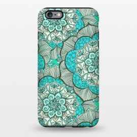 iPhone 6/6s plus  Fresh Doodle in my Happy Colours by Micklyn Le Feuvre (medallion,mandala,flower,floral,teal,aqua,turquoise,drawing,doodle,micklyn,cream,boho,bohemian,flowers,hippy,linework,mint,green)