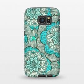 Galaxy S7  Fresh Doodle in my Happy Colours by Micklyn Le Feuvre (medallion,mandala,flower,floral,teal,aqua,turquoise,drawing,doodle,micklyn,cream,boho,bohemian,flowers,hippy,linework,mint,green)