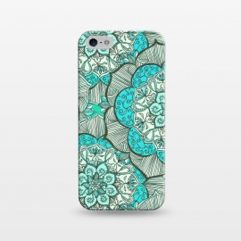 iPhone 5/5E/5s  Fresh Doodle in my Happy Colours by  (medallion,mandala,flower,floral,teal,aqua,turquoise,drawing,doodle,micklyn,cream,boho,bohemian,flowers,hippy,linework,mint,green)