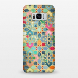 Galaxy S8+  Gilt & Glory - Colorful Moroccan Mosaic by Micklyn Le Feuvre (Moroccan,tiles,geometric,patchwork,collage,textures,micklyn,magenta,colorful,mint green,golden,gold,gilt,tile,patterns,pattern)
