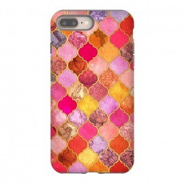 Hot Pink, Gold, Tangerine & Taupe Decorative Moroccan Tile Pattern by Micklyn Le Feuvre