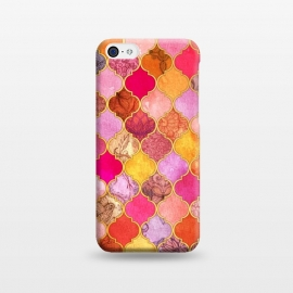 iPhone 5C  Hot Pink, Gold, Tangerine & Taupe Decorative Moroccan Tile Pattern by Micklyn Le Feuvre