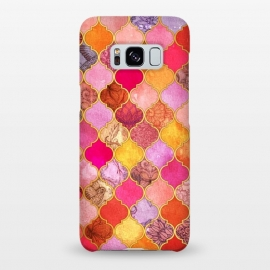 Galaxy S8+  Hot Pink, Gold, Tangerine & Taupe Decorative Moroccan Tile Pattern by Micklyn Le Feuvre