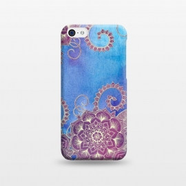 iPhone 5C  Magnolia & Magenta Floral on Watercolor by Micklyn Le Feuvre (watercolor,purple,cream,mandala,medallion,doodle,micklyn,dark blue,cobalt,textures,texture,drawing,hand drawn,boho,bohemian,fern,nature,plants,flower,floral)