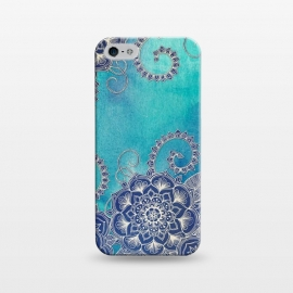 iPhone 5/5E/5s  Mermaid's Garden - Navy & Teal Floral on Watercolor by Micklyn Le Feuvre (medallion,mandala,watercolor,watercolour,boho,bohemian,micklyn,doodle,floral,flower,mermaid,ocean,blues,teal,drawing,linework,textures,texture)