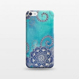 iPhone 5C  Mermaid's Garden - Navy & Teal Floral on Watercolor by Micklyn Le Feuvre