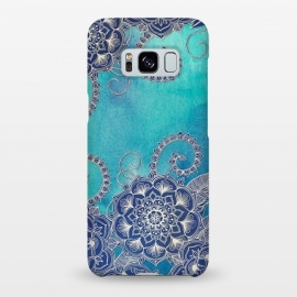 Galaxy S8+  Mermaid's Garden - Navy & Teal Floral on Watercolor by Micklyn Le Feuvre (medallion,mandala,watercolor,watercolour,boho,bohemian,micklyn,doodle,floral,flower,mermaid,ocean,blues,teal,drawing,linework,textures,texture)