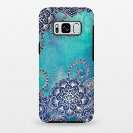 Galaxy S8+  Mermaid's Garden - Navy & Teal Floral on Watercolor by Micklyn Le Feuvre