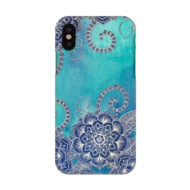 iPhone X  Mermaid's Garden - Navy & Teal Floral on Watercolor by Micklyn Le Feuvre