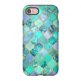 iPhone 8/7  Cool Jade Icy Mint Decorative Moroccan Tile Pattern by Micklyn Le Feuvre