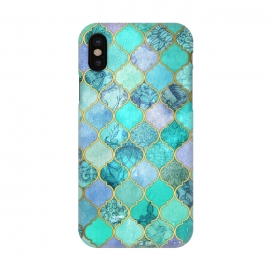 iPhone X  Cool Jade Icy Mint Decorative Moroccan Tile Pattern by Micklyn Le Feuvre