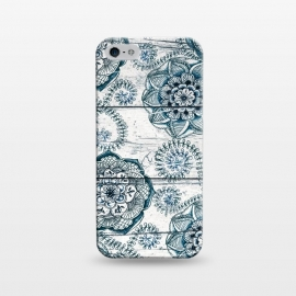 iPhone 5/5E/5s  Navy Blue Floral Doodles on Wood by  (boho,bohemian,pattern,wood,wooden,micklyn,doodle,flower,flowers,floral,nature,leaves,fern,textures,texture,teal,sea green,navy blue,white,cream)