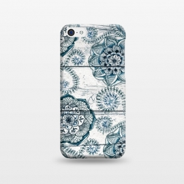iPhone 5C  Navy Blue Floral Doodles on Wood by Micklyn Le Feuvre
