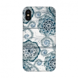 iPhone X  Navy Blue Floral Doodles on Wood by  (boho,bohemian,pattern,wood,wooden,micklyn,doodle,flower,flowers,floral,nature,leaves,fern,textures,texture,teal,sea green,navy blue,white,cream)