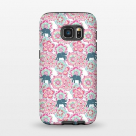 Galaxy S7  Tiny Elephants in Fields of Flowers by Micklyn Le Feuvre (pink,floral,mandala,medallion,animals,elephant,cute,baby,mint green,white,magenta,mandalas,micklyn,pattern,patterns,flowers,tiny,print,sweet)