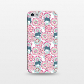 iPhone 5/5E/5s  Tiny Elephants in Fields of Flowers by Micklyn Le Feuvre (pink,floral,mandala,medallion,animals,elephant,cute,baby,mint green,white,magenta,mandalas,micklyn,pattern,patterns,flowers,tiny,print,sweet)