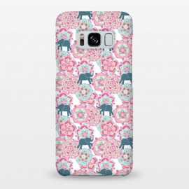 Galaxy S8+  Tiny Elephants in Fields of Flowers by Micklyn Le Feuvre (pink,floral,mandala,medallion,animals,elephant,cute,baby,mint green,white,magenta,mandalas,micklyn,pattern,patterns,flowers,tiny,print,sweet)