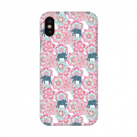 iPhone X  Tiny Elephants in Fields of Flowers by Micklyn Le Feuvre (pink,floral,mandala,medallion,animals,elephant,cute,baby,mint green,white,magenta,mandalas,micklyn,pattern,patterns,flowers,tiny,print,sweet)
