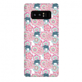 Galaxy Note 8  Tiny Elephants in Fields of Flowers by  (pink,floral,mandala,medallion,animals,elephant,cute,baby,mint green,white,magenta,mandalas,micklyn,pattern,patterns,flowers,tiny,print,sweet)