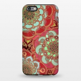 iPhone 6/6s plus  Baroque Obsession 2 by Micklyn Le Feuvre (doodle,mandala,medallion,dark red,mint green,flower,floral,flowers,micklyn,linework,golden,lines,magenta,circles,textures,texture,boho,bohemian)