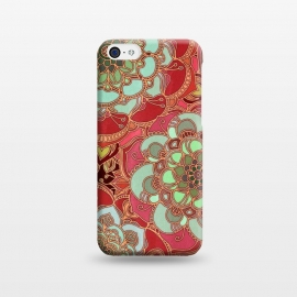 iPhone 5C  Baroque Obsession 2 by Micklyn Le Feuvre (doodle,mandala,medallion,dark red,mint green,flower,floral,flowers,micklyn,linework,golden,lines,magenta,circles,textures,texture,boho,bohemian)