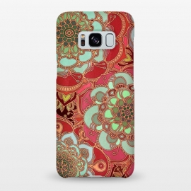Galaxy S8+  Baroque Obsession 2 by Micklyn Le Feuvre (doodle,mandala,medallion,dark red,mint green,flower,floral,flowers,micklyn,linework,golden,lines,magenta,circles,textures,texture,boho,bohemian)