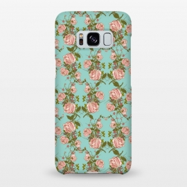 Galaxy S8+  Vintage Rosy Floral-Blue by Quirk It Up