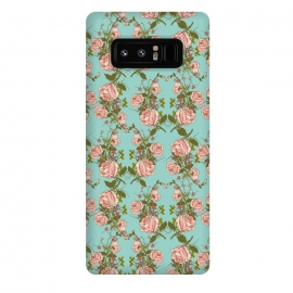 Galaxy Note 8  Vintage Rosy Floral-Blue by Quirk It Up