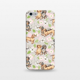 iPhone 5/5E/5s  Dachshunds and dogwood blossoms by Micklyn Le Feuvre (dog,dogs,puppy,puppies,dachshund,blossoms,floral,flowers,dogwood,leaves,illustration,micklyn,cute,drawing,nature,blossom,blush pink,bff,bffs,adorable,pet,pattern,pets)