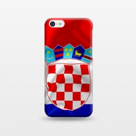 iPhone 5C  Croatia Flag Waving Digital Silk Satin Fabric  by BluedarkArt