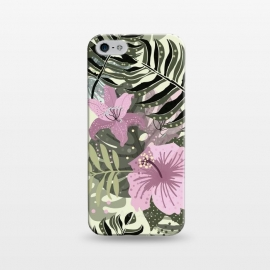iPhone 5/5E/5s  Pastel Green Pink Aloha Tropical Jungle by Utart