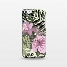 iPhone 5C  Pastel Green Pink Aloha Tropical Jungle by Utart