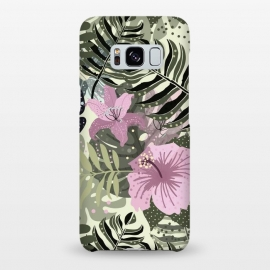 Galaxy S8+  Pastel Green Pink Aloha Tropical Jungle by Utart
