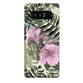 Galaxy Note 8  Pastel Green Pink Aloha Tropical Jungle by