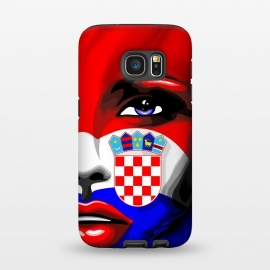 Galaxy S7  Croatia Flag Beautiful Girl Portrait by BluedarkArt (Croatia, Croatia flag, Croatian, Croatian girl, beautiful girl, model girl, white, red, blue, beautiful girl portrait, portrait, face, sensual girl, Croatia colors, Blue eyes, make up, lipstick, beauty, patriotic, country, nation, Europe, symbol, Shield, chequered Shield, emblem, Croatian emblem, Cr)